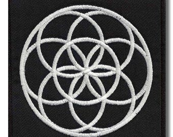 Flower of life - embroidered patch, 8x8 cm