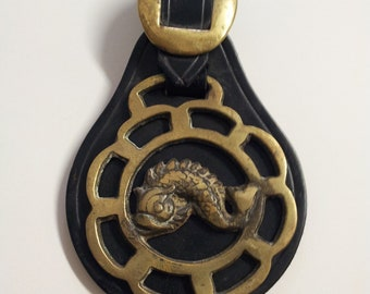 Vintage Horse Brass Harness Medallion Black Leather