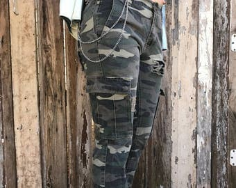 Distressed Camo Jeans with Chains