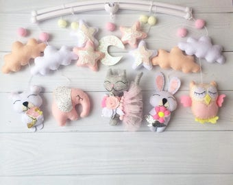 Baby mobile Cat  mobile Crib mobile Baby owl mobile Nursery mobile beige crib mobile princess baby mobile baby girl mobile pink baby mobile