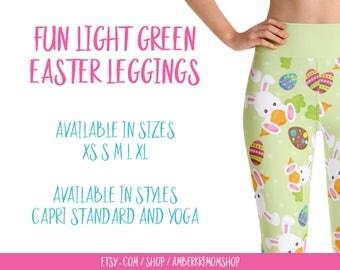 Leggings, Woman's Printed Leggings, Yoga Leggings, Cute Leggings, Fun Leggings, Easter Leggings, Fun Green Easter Yoga Leggings