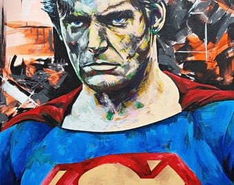 Wall art painting - bold colourful vibrant contemporary impressionalism - Superman Christopher Reeve