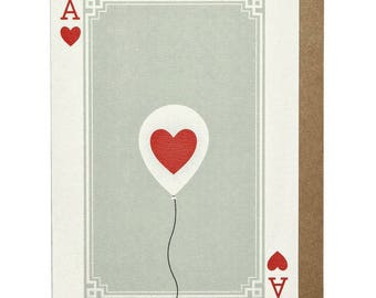 Ace of Hearts Balloon A6 Greeting Card