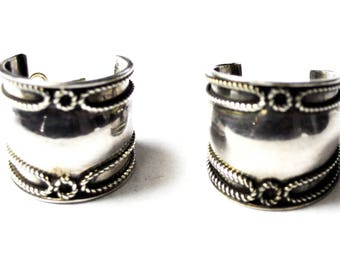 Beautiful Sterling Silver Twist Wire Overlay Wide Hoop Earrings 21mm