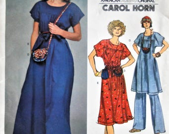 Vogue 1411.  VTG Carol Horn pattern.  Carol Horn dress, tunic and pants pattern.  Purse and pouch pattern.  Vintage Carol Horn.   Size 10.