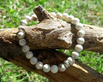 Howlite Beaded Bracelet with Sterling Silver