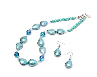 ERSILIA - Murano Glass Two-Piece Necklace and Earrings Set