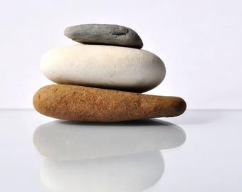 Canvas Zen Stones on White Background Print 30 x 20 cm Wall Art