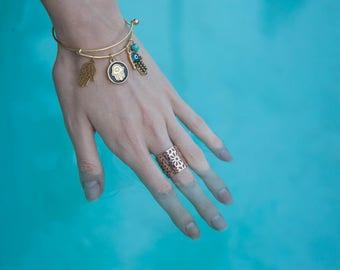 Hamsa Charm Bangle Bracelet