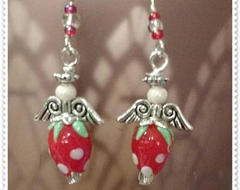 Silver Plated Faceted Glass Bead  Strawberry Angle Drop Earrings.