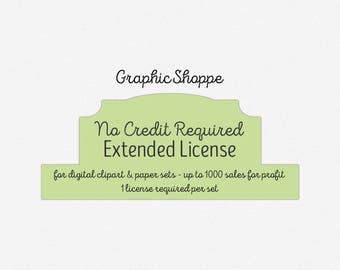 Extended Commercial Use License for Digital Clipart, Graphics, or Paper Sets - Up to 1000 sales for profit - 1 license required per set