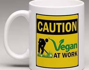 Vegan at work mug! Vegan mug, Vegan cup
