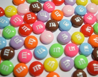 10 pc Flatback Cabochon M Candy for Cellphones, Embellishment, Crafts