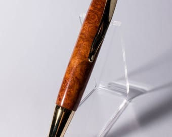 Handcrafted Glacia Gold pen in Amboyna Burl