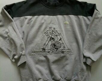 Vintage Lacoste ski skier sweatshirt grey black