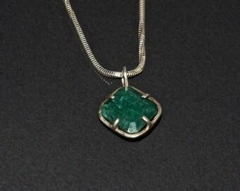 Silver emerald pendant+silver chain 20''