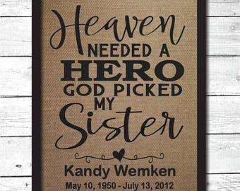 sister memorial, memorial gift, in memory gifts, in memory of, sister memorial, in memory of sister, sympathy gift, memorial print, M12