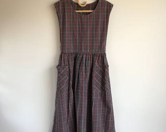 Vintage Red Plaid Apron Dress with Pockets Size 8