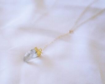 SOL // crystal Y choker, lariat, quartz, boho necklace, dainty necklace, bohemian, minimalist jewelry, raw crystal, gold filled, 14k, gift