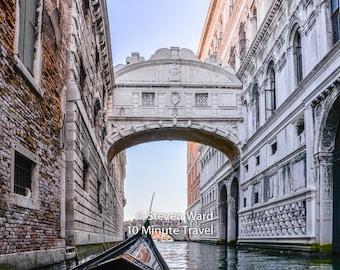 Venice, Bridge of Sighs. Doges Palace, prison, gondola, canal