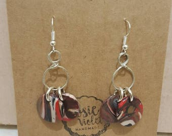 Multi coloured polymer clay drop earrings