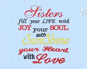 Sisters bring joy embroidery design