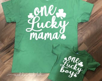 One Lucky Mama // One Lucky Boy // One Lucky dada //One Lucky Girl //St Patrick's Day // Holiday //Cute Shirts //Mom & Son//Dad N Daughter