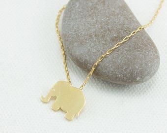 Elephant necklace, Tiny Elephant necklace, Gold Elephant, Lucky Elephant, DM401