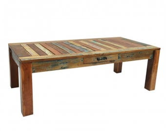 MADE TO ORDER Nirvana coffee table rectangle reclaimed timber solid wood lounge table boat wood recycled wood coffee table with a drawer