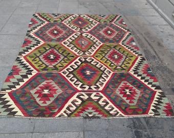 """Handmade kilim rug240x163cm 95""""x64"""",Turkish kilim rug,Anatolian kilim rug,vintage kilim rug,tribal kilim rug, Handmade kilim rug"""
