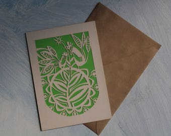 White green cards Paper greeting card Handmade paper cut Birthday gift card Ethnic pattern Card with birds Unique craft card Elegant cards