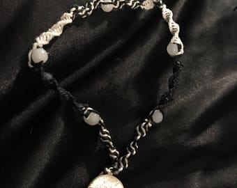 White & Black Spiral Hemp Necklace