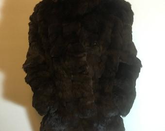 Vintage Rabbit Fur Coat - Brown Size Large - Clasp Closure - MOD Flapper Burlesque