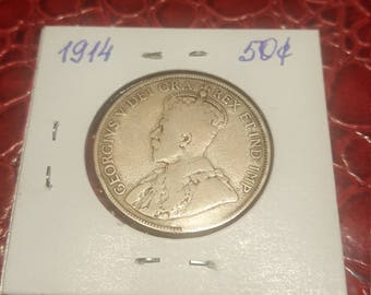 1914   Canada 50 cents silver Half Dollar