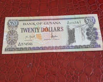 coins paper money Bank of Guyana paper money-VF 20 Dollar banknotes 1996