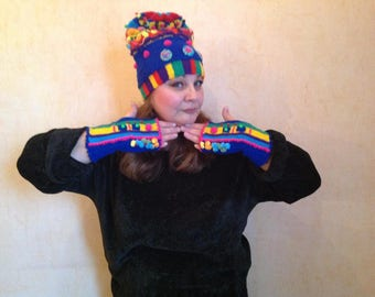 Knitted cap and mittens of wool and wool with acrylic, *Fantasy- 2*.