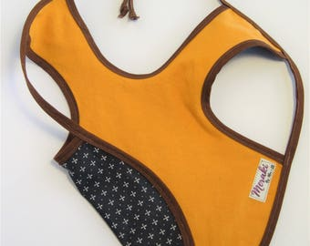 Mustard yellow crossed arrow Bapron, smock, baby bib, reversible apron, bapron, bib, apron, full coverage bib, reversible bib, baby apron,