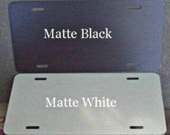 25 pcs. .040 GLOSS White / Matte Black Aluminum License Plate/Car Tag Blanks