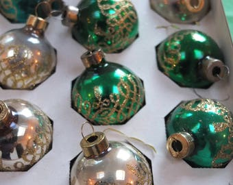 Set of 10 Vintage Red, Gold and Green Mercury Glass Christmas Baubles in Original Box