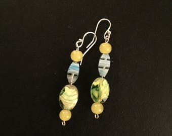 Yellow Earrings Made with Recycled Beads