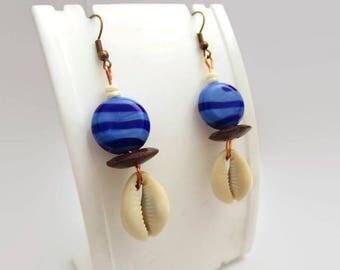 Beach Earrings, Shell Earrings, African Earrings, Ethnic Earrings, Lampwork Earrings, Ethical Earrings, Exotic Earrings, Boho Earrings