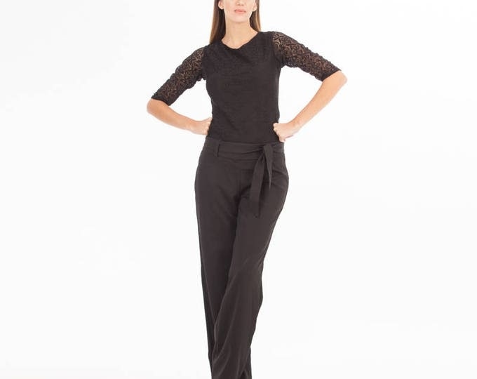 Lace Top - Lace Clothing - Lace Black Top - Black Top - Lace - Lace Sleeve - Brocade blouse - Black blouse - Formal wear