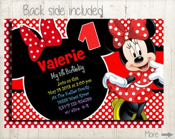 Minnie Mouse Invites, Minnie Mouse Party, Third Birthday Girl, Minnie Invitations, Minnie Mouse Invitation, 1st, 2nd, Girl Birthday Invites