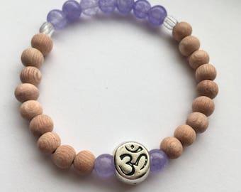 Rosewood and purple candy jade mala bracelet, meditation bracelet