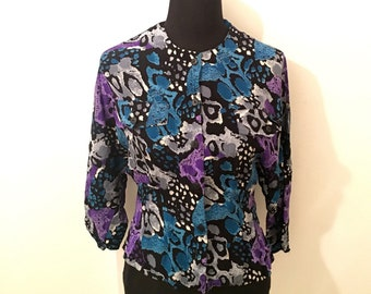 Vintage 80's abstract multicoloured ANIMAL PRINT blouse with batwing sleeves