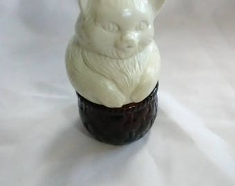 Vintage Avon perfume bottle. Cat on a basket
