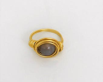 Glass Bead Gold Wired Ring