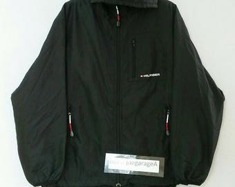 Rare!! TOMMY HILFIGER jacket hoodies spellout full zipper double pocket medium size black colour