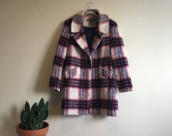 Blue and Red plaid overcoat • Vintage • Vintage Coat • Women's Coat • Women's Vintage • 1990's • London • Chic • Classic • Sophisticated •