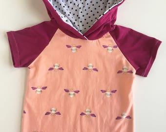 kids shirt, handmade clothes, girls sweatshirt, short sleeve hoodie, spring clothes